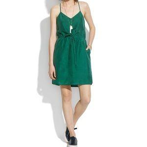 NWT Madewell Green Silk Daybreak Dress Sz 14 ::VV1